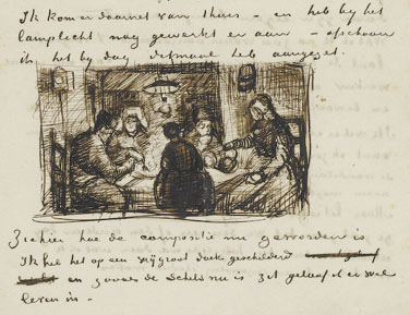 Letter with sketch of 'The potato eaters'