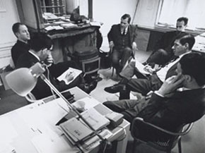 Total Design's board of management in 1963; from left to right: Friso Kramer, Dick Schwarz, Benno Wissing, Ben Bos, Paul Schwarz and Wim Crouwel (photography: Jan Versnel)