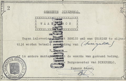 Emergency money municipality of Dinxperlo, May 1940: a simple piece of paper