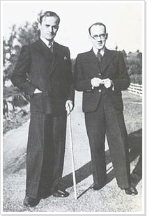 A. Roland Holst (links) en Jan Engelman, oktober 1939